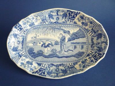 Rare Spode Double Indented Dish 'Lange Lijsen' or 'Jumping Boy' Pattern c1810 (Sold)